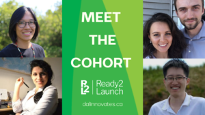 Four participants from the Ready2Launch program are featured with the words Meet the Cohort.